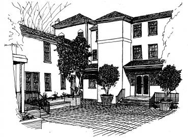 Drawing of the Bechtel courtyard