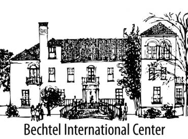 "Drawing of the front of the Bechtel International Center with ""Bechtel International Center"" in text below"